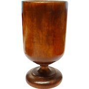 Rare Turned Wood Cup Pedestal Treenware Primitive Fine