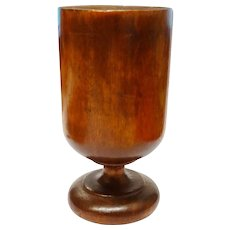 Rare Turned Wood Cup Pedestal Treenware Primitive Fine