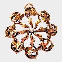 Victorian Diamond 14K Yellow Gold Ivy Brooch Pendant Fine Aesthetic Lovely