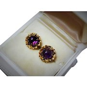 Antique 14K Yellow Gold Amethyst Cabochon Stud Earrings Fine