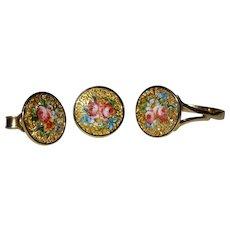 Victorian 18K YG Enamel Floral Button Ring Earrings Set Fine
