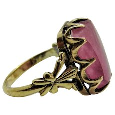Victorian Pink Quartz 9K Yellow Gold Ring Ornate Fine Sugar-loaf