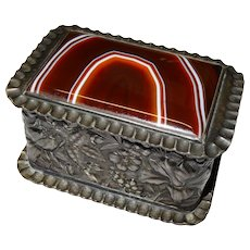 Beautiful Antique Agate Silver Plate Repousse Covered Box by Simpson Hall Miller