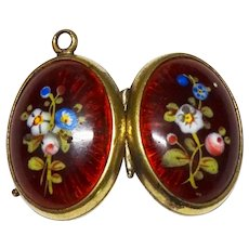 Victorian Guilloche Enamel Hand Painted Floral Double Locket Gilt Wonderful