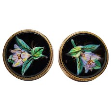 Hand Painted Enamel Jet Buttons Victorian Floral