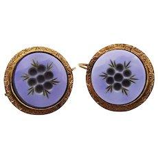Victorian Intaglio Cameo Glass Drop Earrings Gilt Ornate