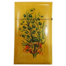 Victorian Mauchline Ware Wood Calling Card Case Forget-Me-Not Motif Rare c. 1880