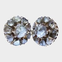 Victorian Rose Cut Diamond Cluster 14K Yellow Gold Earrings Anglo-Indian 1.5 Ct. Fine Antique Circa 1880