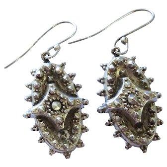Victorian Sterling Silver Ornate Oval Drop Earrings Fine