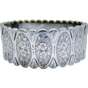 Victorian Sterling Chased Floral Bangle Bracelet Ornate Fine