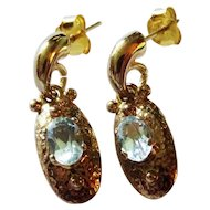 Blue Topaz 18K Vermeil Earrings Door Knocker Hammered Fine