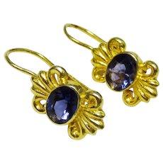 Rich Blue Iolite Sterling Silver Vermeil Drop Earrings Ornate Fine