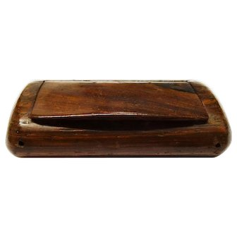 Handsome Antique Walnut Snuff Box Hinged Hand Carved