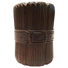 Carved Wood Toothpick Holder Buckle Motif Treen Folk Art