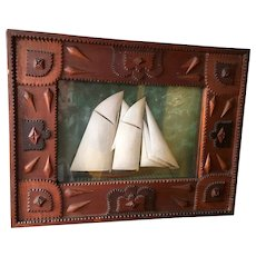 Tramp Art Diorama of Sailboat
