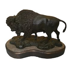 Bronze Buffalo Sculpture on Wood Base