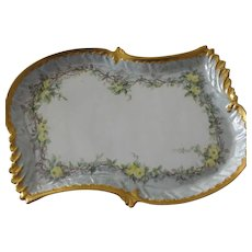 Porcelain Limoges Coiffe Long Tray Handpainted Over 100 years Old