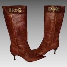 Vintage Dolce and Gabbana Dolce&Gabbana Snakeskin Leather High Rise Boots