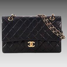 Authentic Vintage Chanel Classic Double Flap Lambskin Black Chain Shoulder Bag 2.55