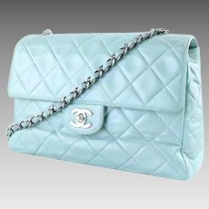 Classic Chanel Authentic Vintage Flap Bag in Mint Green