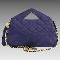 Vintage Authentic Chanel Navy Blue Lambskin Clutch Shoulder Bag