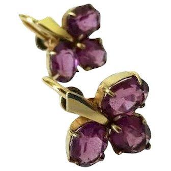 Vintage Purple Clover Leaf Screw Back Earrings