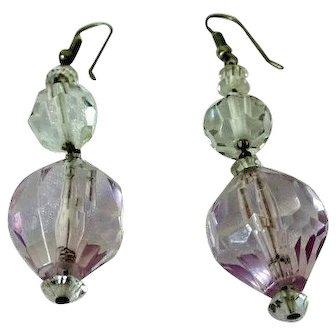 Vintage Light Purple Crystal Ball Dangle Earrings in heavy plastics