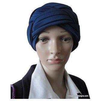 Navy Blue Wrap Turban Marked Fedoria