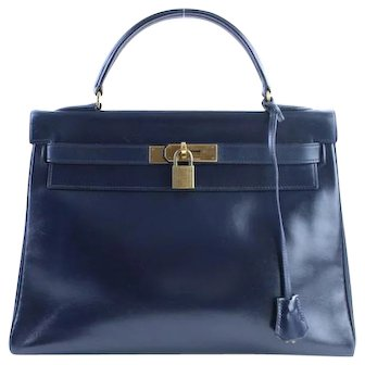 Hermès Kelly Vintage with Strap Navy Blue Cowhide Leather Satchel From 1996