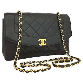 Authentic Chanel Vintage Limited Edition Diana 25 Black Lambskin Bag
