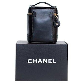 Vintage Chanel Black Lambskin Cosmetic Case