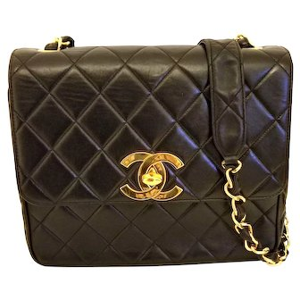 Vintage Chanel Black Lambskin Large CC Shoulder Bag
