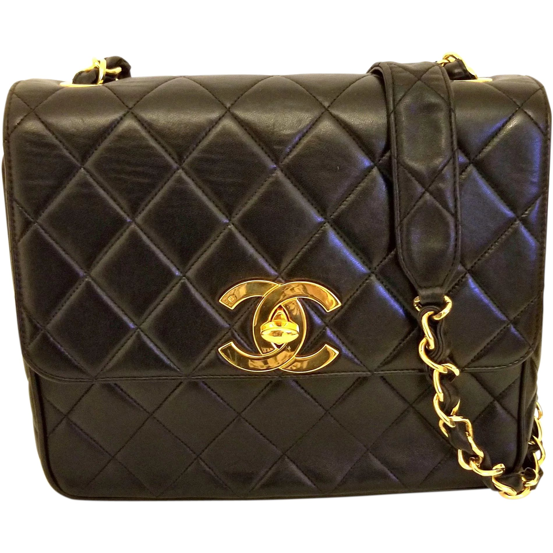 5dc3d7b41b Vintage Chanel Black Lambskin Large CC Shoulder Bag   Vintage Paris Designs