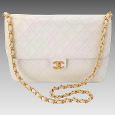 Vintage Chanel White Leather Shoulder Bag