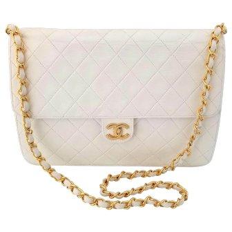 Vintage Chanel White Leather Shoulder Bag