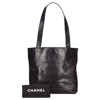 Vintage Chanel Camellia Black Lambskin Tote Bag