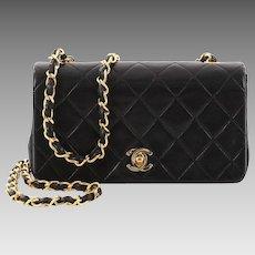 Vintage Authentic Chanel Mini Bag Classic Black Lambskin Flap Chain Strap