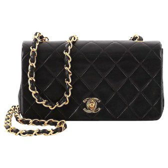 Vintage Authentic Chanel Mini Bag Classic Black Lambskin Flap Chain Strap