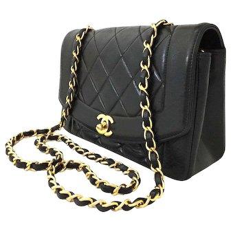 Vintage Chanel Black Lambskin Diana 22 Cross Body Bag