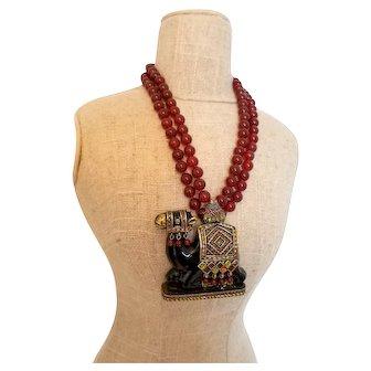 Retired Heidi Daus Camelot Enamel Pendant Beaded Necklace