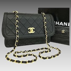 Vintage Chanel Black Lambskin Cross Body Bag and Wallet