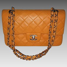 Chanel Vintage Authentic Quilted Orange Classic Double Flap Lambskin Bag