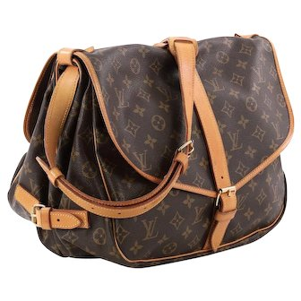 Vintage Authentic Louis Vuitton Monogram Saumur 35 GM Postal Shoulder Bag