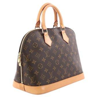 Vintage Authentic Louis Vuitton Monogram Alma PM Satchel Bag