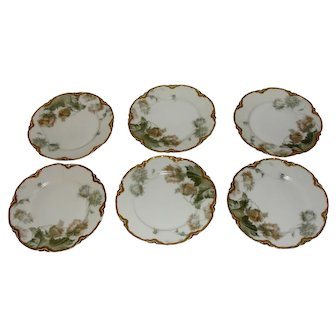 Antique Haviland Feu De Four Limoges Porcelain Set of 6 Plates in FeuDeFour gold under rims
