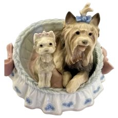 Boxed Vintage LLadro Figurine of Dogs in a Bed Marked 1997 Selling Out Porcelain