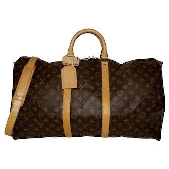 Authentic Vintage Louis Vuitton Duffle Keepall Bandouliere 55 Travel Monogram Bag