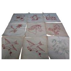 27 + Vintage Muslin  RedWork Quilt  Panels