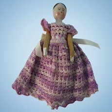 """Vintage 7"""" Jointed Peg Wooden Doll"""