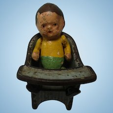 Vintage Painted Cast Iron Boy Doll & Chair